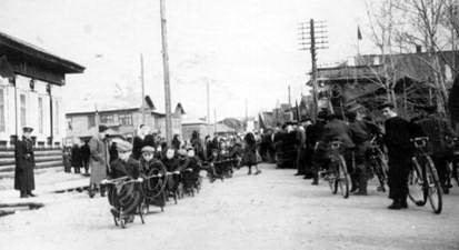 Первомайский парад 1960 г. Маленькие велосипедисты., альбом Тулун, которого уже нет